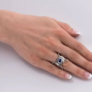 NWT CAROLYN POLLACK/A.W.  LAPIS 'X' RING STERLING